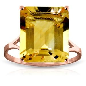 14K. SOLID GOLD RING WITH OCTAGON CITRINE